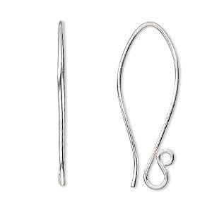 1 Pair Pkg Earwire Sterling Silver 35mm Folded Fishhook