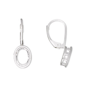 earwire, sterling silver, leverback, oval with rope edge, 24.5x9mm, 8x6mm oval setting. sold per pair.