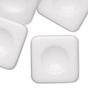 embellishment, acrylic, opaque white, 28x28mm rounded flat square with 15mm round setting. sold per pkg of 6.