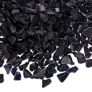 embellishment, blue goldstone (man-made), mini undrilled chip. sold per 50-gram pkg, approximately 850-1,100 pieces.