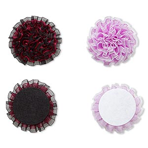embellishment, chiffon and felt, multicolored, 3-3/4 to 4-inch flower. sold per pkg of 2.