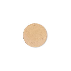 embellishment, copper, 15mm undrilled double-sided shiny flat round blank, 24 gauge. sold per pkg of 10.