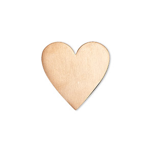 embellishment, copper, 20mm undrilled double-sided shiny flat heart blank, 18 gauge. sold per pkg of 4.