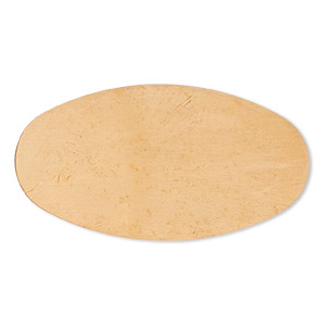 embellishment, copper, 49x26mm undrilled double-sided shiny flat oval blank, 24 gauge. sold per pkg of 2.