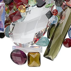 embellishment mix, glass, mixed colors, 2-35mm mixed shape. sold per 1-ounce pkg, approximately 20-80 embellishments.