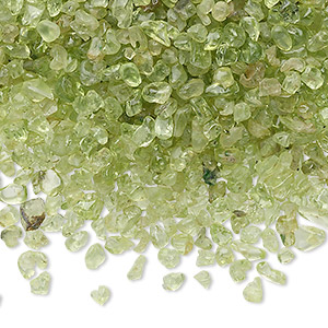 embellishment, peridot (natural), mini hand-cut undrilled chip, mohs hardness 6-1/2 to 7. sold per 50-gram pkg, approximately 4,600-5,100 pieces.