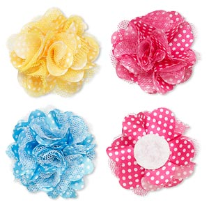 embellishment, polyester chiffon and felt, assorted colors, 2-inch flower with polka dots. sold per pkg of 12.