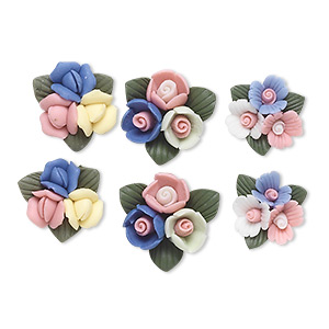 embellishment, porcelain, assorted colors, 12-16mm undrilled flower cluster. sold per pkg of 3 pairs.