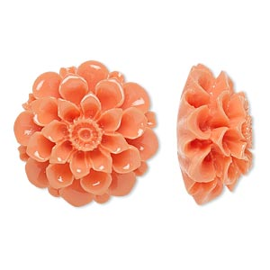 embellishment, resin, light salmon pink, 28x28mm undrilled flower. sold individually.