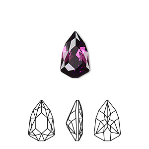 embellishment, swarovski crystal rhinestone, amethyst, foil back, 13.6x8.6mm faceted trilliant fancy stone (4707). sold per pkg of 72.