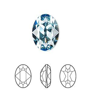 embellishment, swarovski crystal rhinestone, aquamarine, foil back, 18x13mm faceted oval fancy stone (4120). sold per pkg of 48.