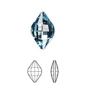 embellishment, swarovski crystal rhinestone, aquamarine, foil back, 19x12mm faceted lemon fancy stone (4230). sold per pkg of 72.