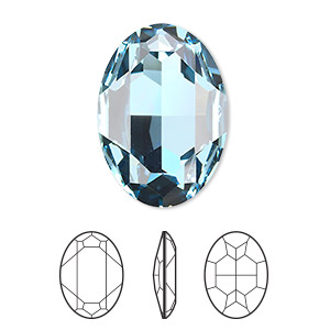 embellishment, swarovski crystal rhinestone, aquamarine, foil back, 30x22mm faceted oval fancy stone (4127). sold per pkg of 24.