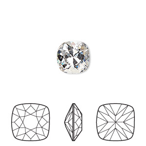 0a9cf76b6 Embellishment, Swarovski® crystal rhinestone, crystal clear, foil back,  10mm faceted cushion fancy stone (4470). Sold per pkg of 6.