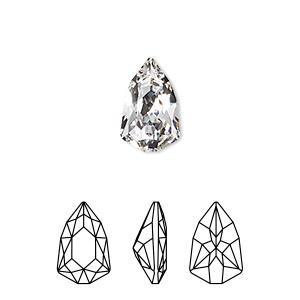 embellishment, swarovski crystal rhinestone, crystal clear, foil back, 13.6x8.6mm faceted trilliant fancy stone (4707). sold per pkg of 72.