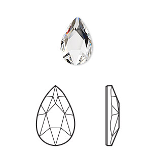 embellishment, swarovski crystal rhinestone, crystal clear, foil back, 14x9mm faceted pear flat back fancy stone (2303). sold per pkg of 72.