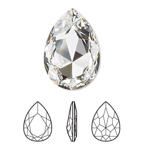 0a7f5167d Embellishment, Swarovski® crystal rhinestone, crystal clear, foil back,  30x20mm faceted pear fancy stone (4327). Sold individually.