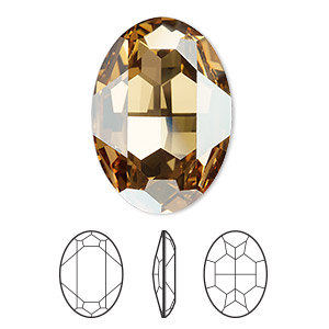 embellishment, swarovski crystal rhinestone, crystal golden shadow, foil back, 30x22mm faceted oval fancy stone (4127). sold per pkg of 24.
