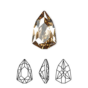 embellishment, swarovski crystal rhinestone, crystal golden shadow, foil back, 18.7x11.8mm faceted trilliant fancy stone (4707). sold per pkg of 48.