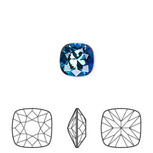 embellishment, swarovski crystal rhinestone, crystal passions, bermuda blue, foil back, 10x10mm faceted cushion fancy stone (4470). sold individually.