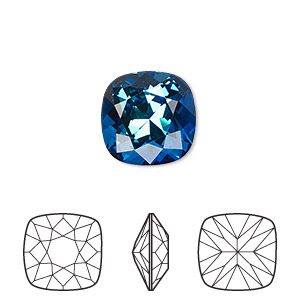 embellishment, swarovski crystal rhinestone, crystal passions, bermuda blue, foil back, 12x12mm faceted cushion fancy stone (4470). sold per pkg of 6.