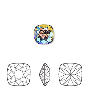 embellishment, swarovski crystal rhinestone, crystal passions, black diamond shimmer, foil back, 10mm faceted cushion fancy stone (4470). sold per pkg of 6.