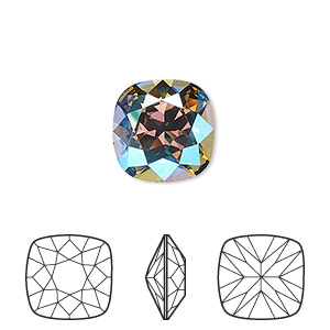 embellishment, swarovski crystal rhinestone, crystal passions, black diamond shimmer, foil back, 12mm faceted cushion fancy stone (4470). sold per pkg of 6.