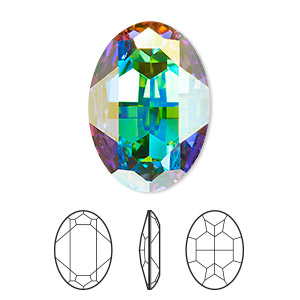 embellishment, swarovski crystal rhinestone, crystal passions, crystal ab, foil back, 30x22mm faceted oval fancy stone (4127). sold per pkg of 4.