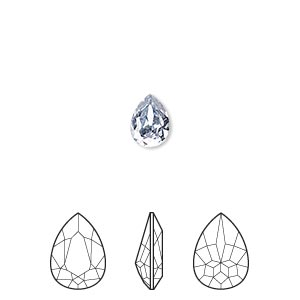 embellishment, swarovski crystal rhinestone, crystal passions, crystal blue shade, foil back, 8x6mm faceted pear fancy stone (4320). sold per pkg of 2.