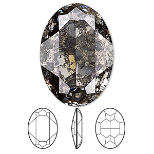 embellishment, swarovski crystal rhinestone, crystal passions, crystal black patina, foil back, 30x22mm faceted oval fancy stone (4127). sold individually.