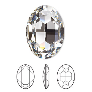 embellishment, swarovski crystal rhinestone, crystal passions, crystal clear, foil back, 30x22mm faceted oval fancy stone (4127). sold per pkg of 4.