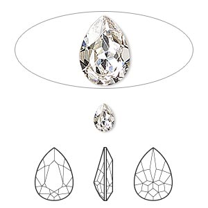 embellishment, swarovski crystal rhinestone, crystal passions, crystal clear, foil back, 6x4mm faceted pear fancy stone (4320). sold per pkg of 2.