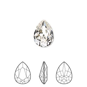 embellishment, swarovski crystal rhinestone, crystal passions, crystal clear, foil back, 14x10mm faceted pear fancy stone (4320). sold individually.