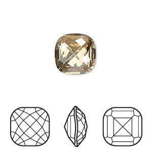 embellishment, swarovski crystal rhinestone, crystal passions, crystal golden shadow, foil back, 12x12mm faceted classical cushion fancy stone (4461). sold per pkg of 4.