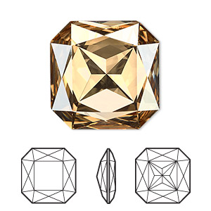 embellishment, swarovski crystal rhinestone, crystal passions, crystal golden shadow, foil back, 23x23mm faceted square fancy stone (4675). sold per pkg of 4.