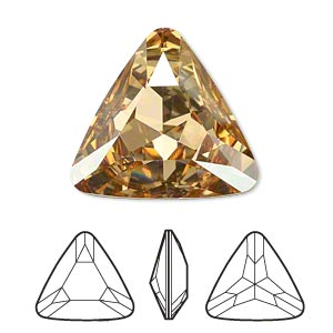 embellishment, swarovski crystal rhinestone, crystal passions, crystal golden shadow, foil back, 23x23x23mm faceted triangle fancy stone (4727). sold individually.