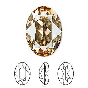 embellishment, swarovski crystal rhinestone, crystal passions, crystal golden shadow, foil back, 25x18mm faceted oval fancy stone (4120). sold per pkg of 4.