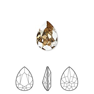 embellishment, swarovski crystal rhinestone, crystal passions, crystal golden shadow, foil back, 14x10mm faceted pear fancy stone (4320). sold per pkg of 12.