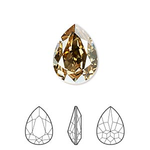 embellishment, swarovski crystal rhinestone, crystal passions, crystal golden shadow, foil back, 18x13mm faceted pear fancy stone (4320). sold individually.