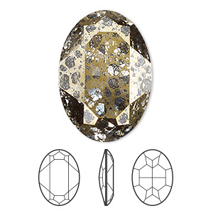 embellishment, swarovski crystal rhinestone, crystal passions, crystal gold patina, foil back, 30x22mm faceted oval fancy stone (4127). sold per pkg of 4.