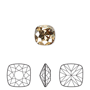 embellishment, swarovski crystal rhinestone, crystal passions, crystal golden shadow, foil back, 10x10mm faceted cushion fancy stone (4470). sold individually.
