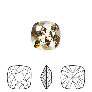 embellishment, swarovski crystal rhinestone, crystal passions, crystal golden shadow, foil back, 12x12mm faceted cushion fancy stone (4470). sold per pkg of 6.