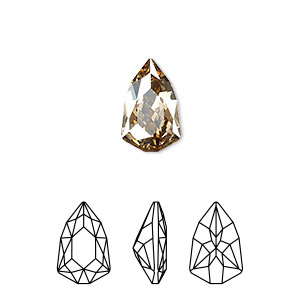 embellishment, swarovski crystal rhinestone, crystal passions, crystal golden shadow, foil back, 13.6x8.6mm faceted trilliant fancy stone (4707). sold per pkg of 6.