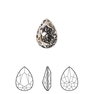 embellishment, swarovski crystal rhinestone, crystal passions, crystal rose patina, foil back, 14x10mm faceted pear fancy stone (4320). sold per pkg of 12.