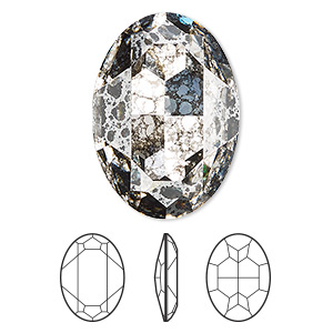 embellishment, swarovski crystal rhinestone, crystal passions, crystal silver patina, foil back, 30x22mm faceted oval fancy stone (4127). sold individually.
