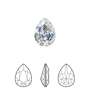 embellishment, swarovski crystal rhinestone, crystal passions, crystal white patina, foil back, 14x10mm faceted pear fancy stone (4320). sold per pkg of 12.