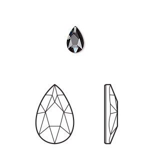 embellishment, swarovski crystal rhinestone, crystal passions, graphite, foil back, 8x5mm faceted pear flat back fancy stone (2303). sold per pkg of 24.