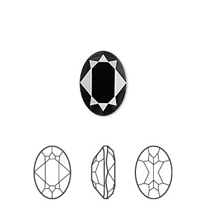 embellishment, swarovski crystal rhinestone, crystal passions, jet, 14x10mm faceted oval fancy stone (4120). sold per pkg of 12.