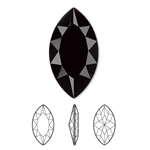 embellishment, swarovski crystal rhinestone, crystal passions, jet, 32x17mm faceted marquise fancy stone (4227). sold per pkg of 4.