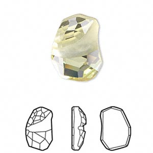 embellishment, swarovski crystal rhinestone, crystal passions, jonquil, foil back, 19x13mm faceted divine rock flat fancy stone (4787). sold per pkg of 12.